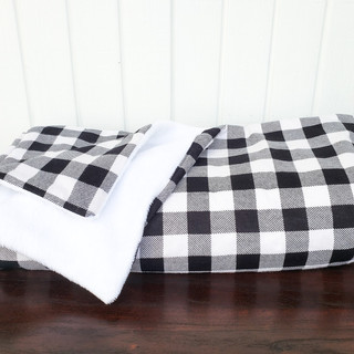 Black and White Buffalo Plaid  and Sherpa Blanket
