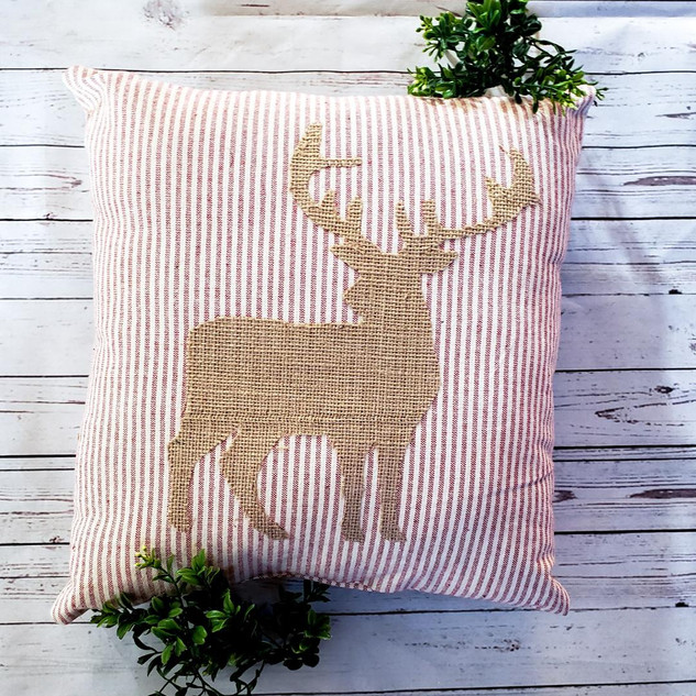 Rustic Reindeer Christmas Pillow