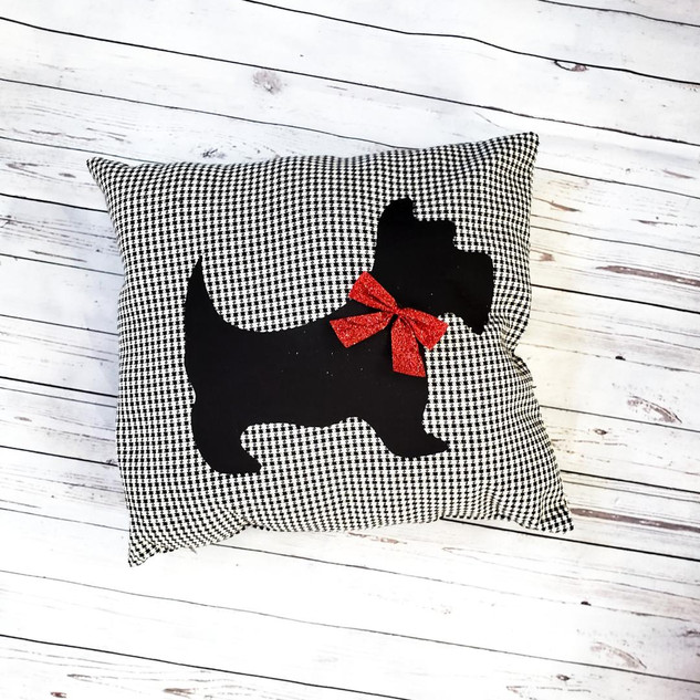 Dog and Bow Pillow