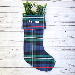 Plaid Christmas Stocking Personalized