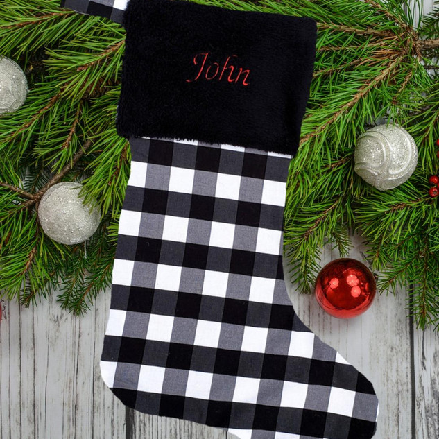 Black and White Buffalo Plaid Stocking Personalized