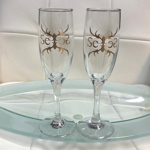 SexesByStephanie Custom Gold Logo Wine Fluke Stem Glasses