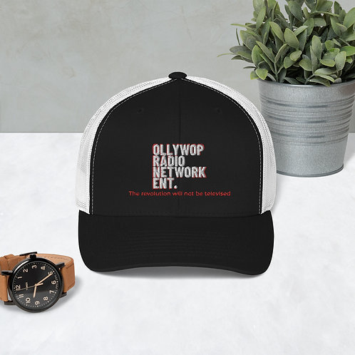"""Ollywop Radio Network Ent."" Trucker Cap (White/Red/Black)"
