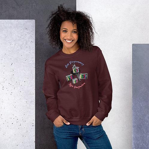 'Less Program-More Imagination' Womens Sweatshirt