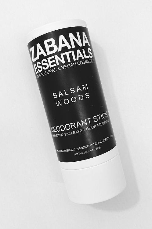 Zabana 100% Natural and Vegan Deodorant stick - BALSAM WOODS