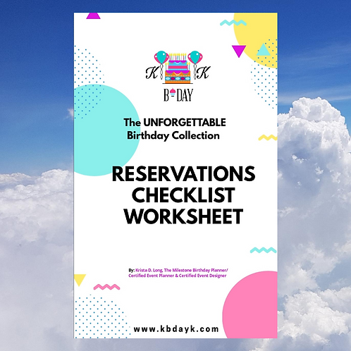 KBDAYK Reservations Checklist Worksheet