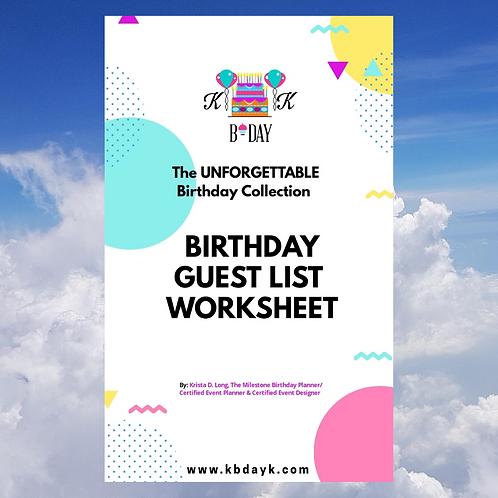 KBDAYK Birthday Guest List Worksheet