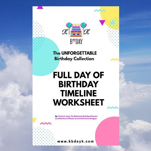 KBDAYK Full Day of Birthday Timeline Worksheet