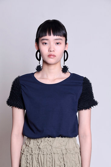 kumo sleeve T-shirt / NVY