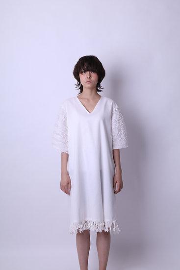 mokume fringe cotton dress / WHT