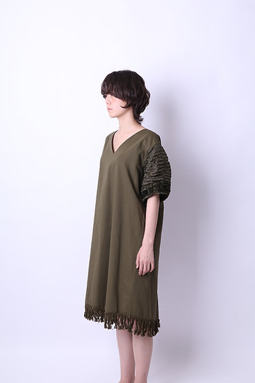 mokume fringe cotton dress / KHA