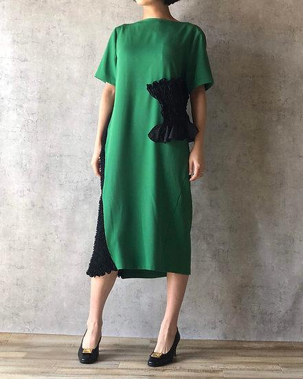 kumo mokume combi dress  /green