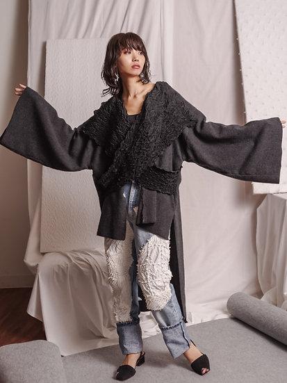 miura kesa wool  cardigan GRY