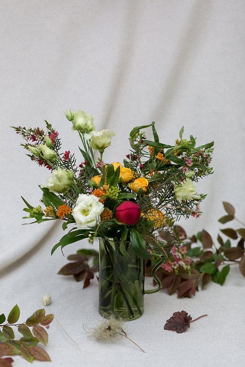 Jarrita de cristal con flores