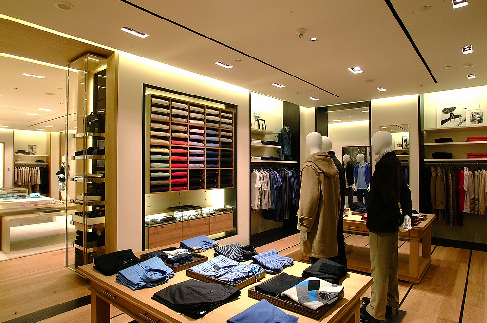Burberry retail apparel store interior design