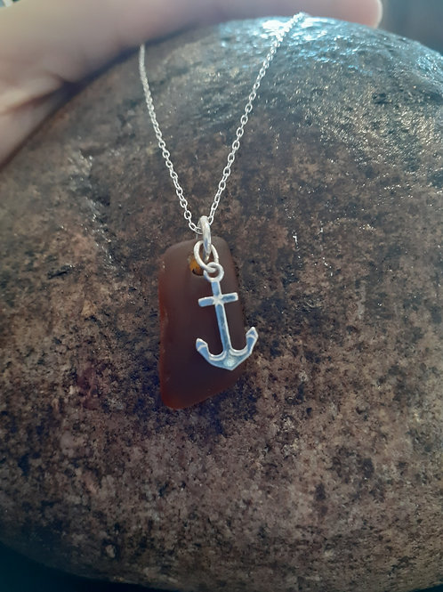Sea Glass with Anchor pendant