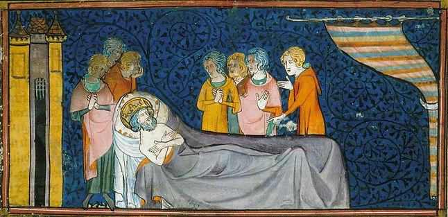 mort de st Louis - enluminure XIVe siecl