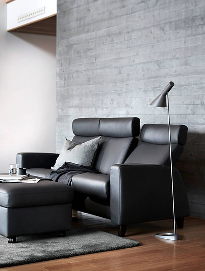 The Stressless® Arion A10 sofa design is available in multiple versions, leathers, and sizes, customize your own today at Furniture Solutions in Appleton, WI.