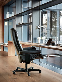 Stressles Furniture | View Recliner - Office Base - Pioneer Leather | Black