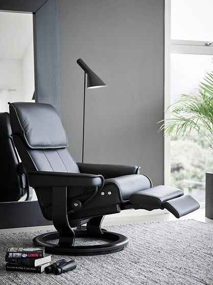 The Stressless® Admiral is a timeless recliner featuring comfortable firm seat and a height-adjustable headrest. The design is accentuated beautifully by distinctive details in the stitching. The adjustable headrest can add an additional 10 cm to the back height when desired, making it a great choice of comfort for those with a longer back. The Stressless® Admiral recliner design is available in multiple versions, leathers, and sizes, customize your own today at Furniture Solutions in Appleton, WI.