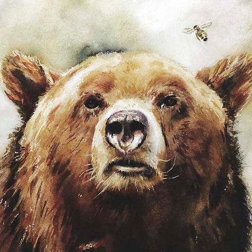"""Bear and Bee  5"""" x 5"""""""