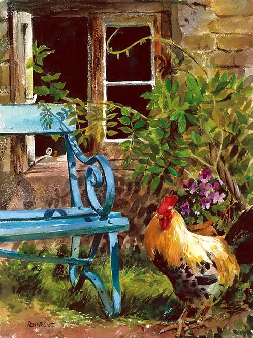 "Cockerel and Bench  11"" x 14"""