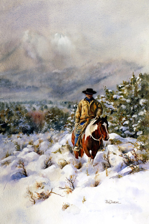 "Snow Valley Cowboy  11"" x 14"""