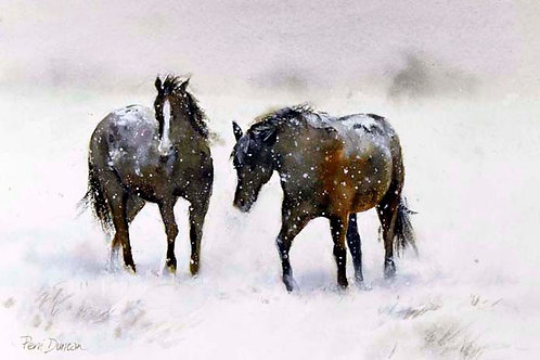 """Horses in snow, Winter Frolics  14"""" x 11"""""""