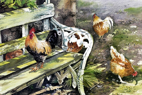 "Farmyard Green Bench  14"" x 9"""