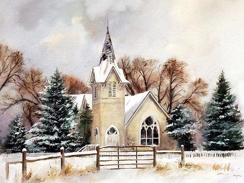 "Evergreens and Church 13"" x 11"""