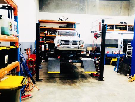 Very clean Alfa Giulia in our very clean workshop
