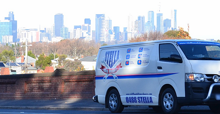 Stella Mobile Mechanics van in Northcote looking back to Melbourne