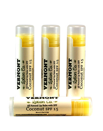 4 Pack, Coconut All Natural Lip Balm with SPF 15 protection