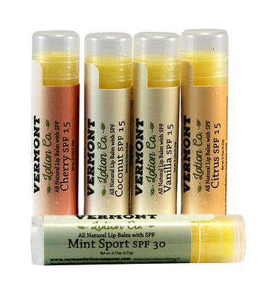 Variety 5 Pack, All Natural Lip Balm with SPF protection
