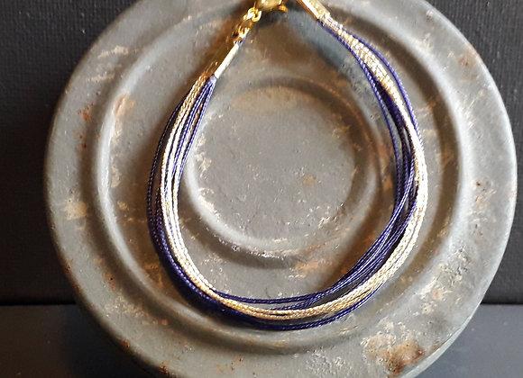 Bracelet Multiliens Prune Doré