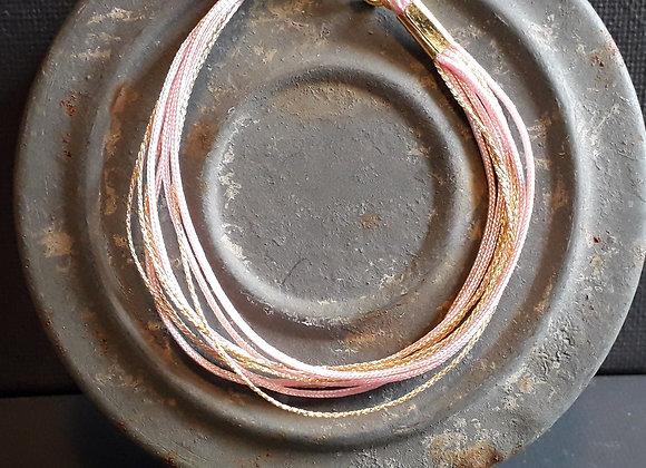 Bracelet Multiliens Rose Pale Doré
