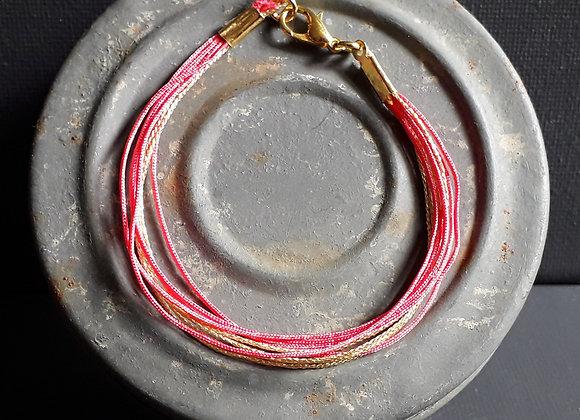 Bracelet Multiliens Rose Bubble doré