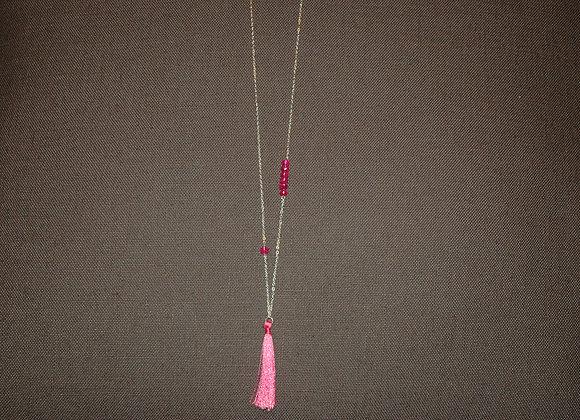 Sautoir Pompon Soie Rose