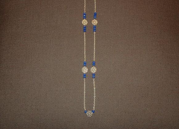 Sautoir  Rosace Argent et Bleu