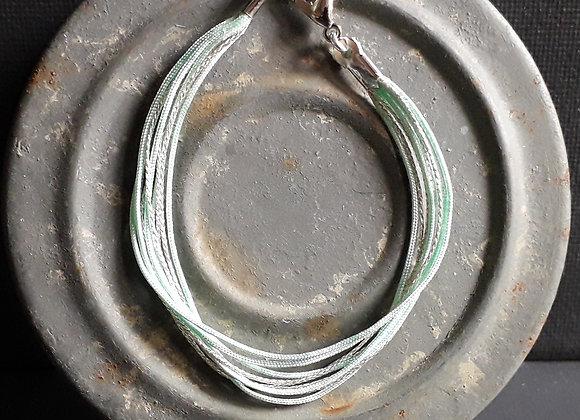 Bracelet Multiliens Vert d'eau Argenté