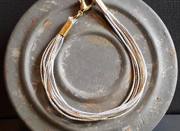 Bracelet Multiliens Gris Doré