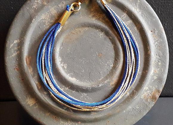 Bracelet Multiliens Bleu Klein Doré