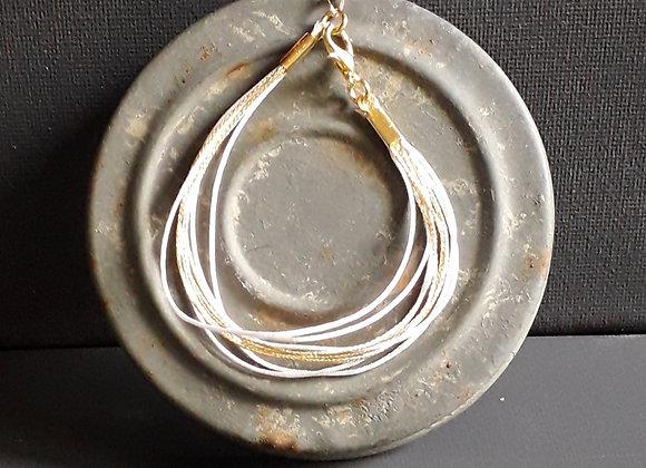 Bracelet Multiliens Blanc Doré