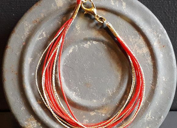 Bracelet Multiliens Rouge Doré