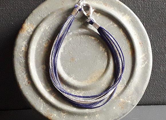 Bracelet Multiliens Violet Argenté