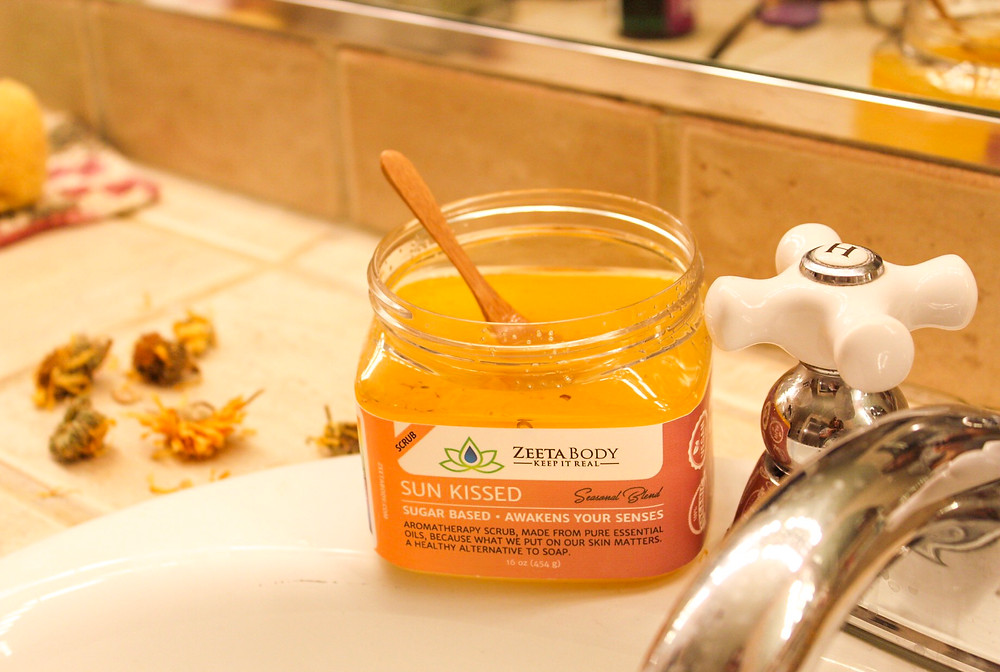 Sweet, Sun Kissed Sugar Scrub by Zeeta Body is 100% natural. Body care that's good for you and good for the planet!