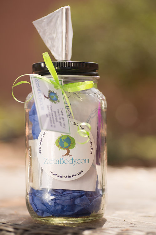 Mason Jar gift set with skin products