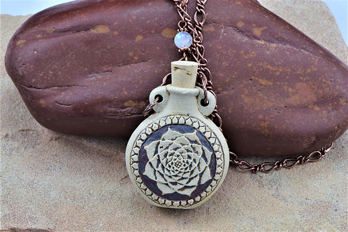 LOTUS FLOWER CLAY BOTTLE NECKLACE