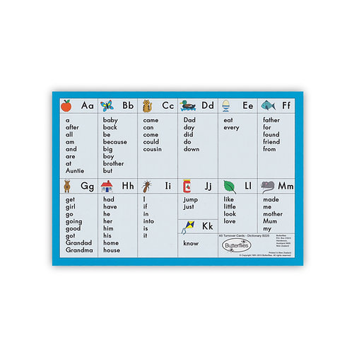A5 Turnover Dictionary Cards (pack of 6)