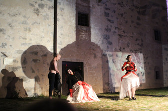 Maya Petrovna singing as soloist for 'Shadow of mud' theatre play, Pazin Castle